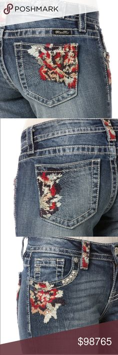 "JUST INFestival Ready Embroidered Miss Me Skinny Add a pop of color to your denim wardrobe with these Miss Me Multi-Colored Floral Skinny Jeans. Floral embroidery accents with rhinestone detailing can be found on the back and front pockets and on a few belt loops. Whether you choose to dress up or wear these jeans casually, you will love all the compliments you get when you wear them. Rise 8.5"" Inseam 31"" Miss Me Jeans Skinny"
