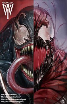 Spider-Man Marvel Comics Venom and Carnage Split by Wizyakuza Marvel Comics, Marvel Venom, Marvel Villains, Marvel Vs, Anime Comics, Marvel Heroes, Venom Spiderman, Superhero Spiderman, Comic Movies