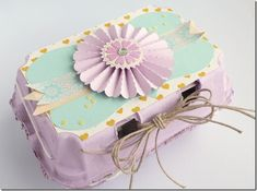 Anna Draicchio Easter Egg Box, using Sizzix dies including the Lovely Flower and the Tim Holtz Rosette