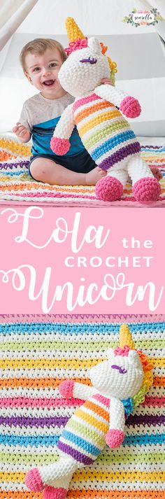 Crochet LOLA the plushy Amigurumi rainbow UNICORN - she's super squishy and a beginner friendly crochet project. Free pattern!