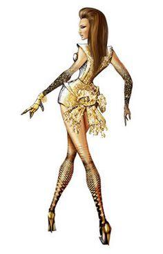 Alguns dos figurinos usados por Beyoncé na turnê do CD I Am Sasha Fierce foram assinados pelo estilista Thierry Mugler