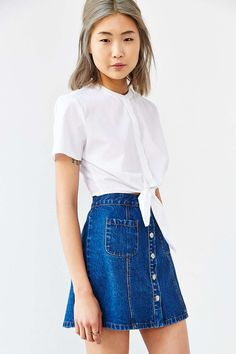 Alice & UO Betty Tie-Front Cropped Top - Urban Outfitters