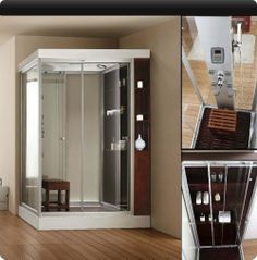 $4099 One person steam shower.  More modern than red one.  Has a ton of storage behind glass doors.
