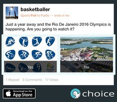 #1yeartogo until the #Olympics in Rio! Are you excited as we are? #choice www.choiceapp.co