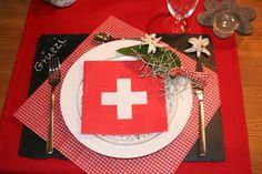 Tischdeko Schweiz Titel Swiss National Day, Swiss Days, Swiss Recipes, Dinner Themes, Dinner Parties, Fondue Party, Swiss Style, Happy Flowers, Menu Design