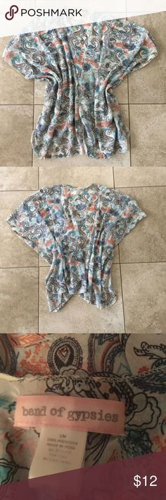 Paisley floral print Kimono Band of Gypsies (Nordstrom brand) floral paisley print kimono. Size S/M but fits like one size fits all. Worn a few times, still in excellent condition. Comes from a pet and smoke free home. Offers welcome!  #kimono #floral #paisley #nordstrom #bandofgypsies #onesize #chiffon Band of Gypsies Tops