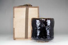 SETOGURO CHAWAN - Antique Japanese Black Pottery Bowl w/awasebako #2734 Chawan, Tea Bowls, Pottery Bowls, Vase, Japanese, Antiques, Black, Home Decor, Ceramic Bowls