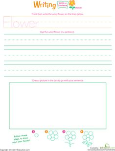 Get your child's creative juices flowing by encouraging her to write and illustrate a sentence about a colorful spring flower.