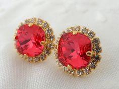 Pink red Swarovski stud earrings Bridal by EldorTinaJewelry, $42.00