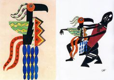Design for the Green Wing Bird (In the ballet Creation of the World) by Fernand Léger, 1923, left (© Bengt Häger, Swedish Ballet. London: Thames & Hudson, 1990). Drawing by Millicent Hodson turning the design into dance, right (© Millicent Hodson.