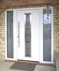 Image result for white upvc door with glass panels either side