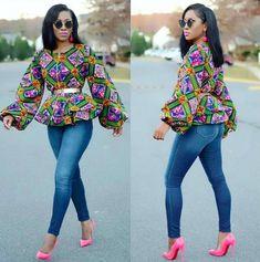 African Print Peplum Top – Puff Sleeve – Ankara – African Dress – Handmade – Africa Cloth… – African Fashion Dresses - African Styles for Ladies African Dresses For Women, African Fashion Dresses, African Attire, African Wear, African Style, African Women, African Clothes, African Outfits, Ankara Fashion