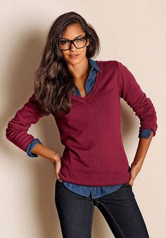 Flashlights Pulóver Anastasia, V Neck, Sweaters, Marsala, Shopping, Tops, Lights, Women, Fashion