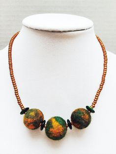 Felted necklace felt necklace Colorful necklace by TheCreativeBee