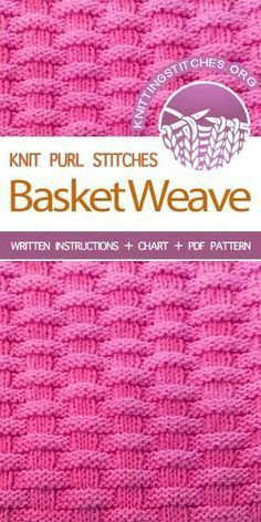 - The Art of Knitting knit Basketweave stitch knittingstitches knitpurl Knit Purl Stitches, Dishcloth Knitting Patterns, Knitting Stiches, Knit Dishcloth, Easy Knitting, Knitting Needles, Loom Knitting Blanket, Sock Knitting, Knitting Tutorials