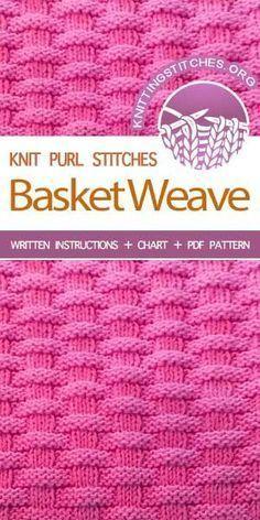 - The Art of Knitting knit Basketweave stitch knittingstitches knitpurl Knit Purl Stitches, Dishcloth Knitting Patterns, Knitting Stiches, Knit Dishcloth, Easy Knitting, Knitting Needles, Loom Knitting Blanket, Sock Knitting, Knitting Tutorials
