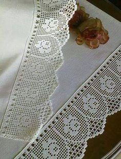 This Pin was discovered by Cri Crochet Boarders, Crochet Lace Edging, Crochet Motifs, Crochet Chart, Thread Crochet, Crochet Trim, Crochet Doilies, Crochet Stitches, Knit Crochet