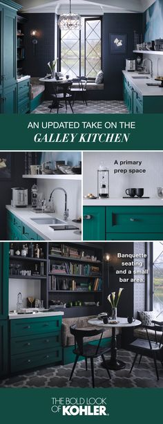 Discover the inspiring Emerald View galley kitchen with beautiful natural light, lots of color, efficient workspaces and plenty of space to entertain.