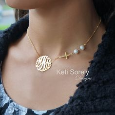 Monogram Necklace with Sideways Cross  & White Pearls - Sterling Silver, Yellow or Rose Gold