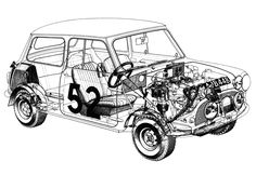 This is a cutaway of the now legendary Mini Cooper S driven to victory at the 1965 Monte Carlo Rallye by the Timo Mäkinen / Paul Easter team. Mini Cooper S, Mini Cooper Classic, Classic Mini, Classic Cars, Cutaway, Mini Cooper Wallpaper, Minis, Mini Countryman, Mini Clubman