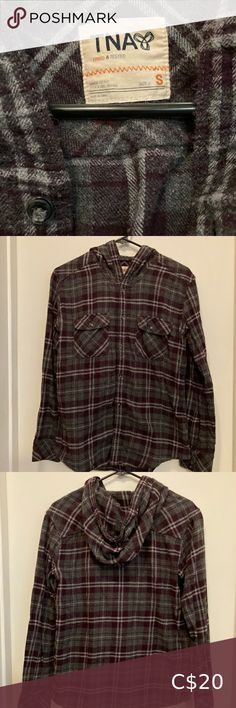 TNA hooded button-up plaid flannel Grey and burgundy plaid flannel button-up with hood. Super cozy and perfect for layering. TNA Tops Button Down Shirts Button Up, Button Down Shirt, Plus Fashion, Fashion Tips, Fashion Trends, Plaid Flannel, Layering, Colorful Shirts, Hoods