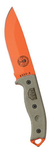 ESEE 5POG Bright Orange EDC Fixed Blade Knife w OD Green Canvas Micarta Handle