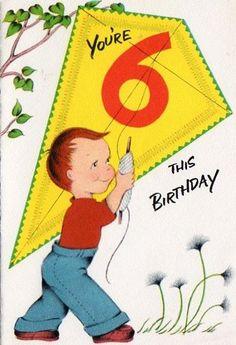 Six Years Old Vintage Birthday Cards Kids Greeting