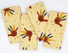 Ready to Ship A set of 4 beautiful 100% cotton cloth napkins in a fun beige with handprint turkey pattern, they add a beautiful pop of color to your Thanksgiving table during the holidays. Cloth napkins also make great housewarming, wedding or holiday gifts, and so much more! Cloth Napkins are Thanksgiving Table Settings, Thanksgiving Treats, Thanksgiving Decorations, Thanksgiving 2020, Turkey Handprint, Turkey Pattern, Paper Crafts, Diy Crafts, Hand Art