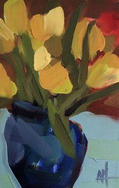 Yellow Tulips in Blue Vase no. 4 original still por prattcreekart