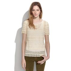 Madewell cream lace top, olive pants