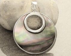 Oval Mosaic Pendant Sterling Silver Pendant White and by KRAMIKE
