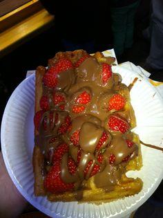 Yum yum yum...waffle with strawberry and chocolate