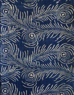 Katazome Cotton: Taisho Style Peacock Feathers