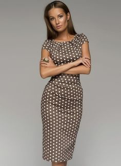 Brown Polka Dot Pencil Dress Very Nice Knee length pencil dress for work! Sizes M - XXL. Cute Dresses, Beautiful Dresses, Casual Dresses, Fashion Dresses, Dresses For Work, Summer Dresses, Short Dresses, Summer Outfits, Dress Skirt