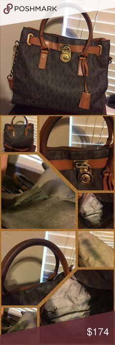 Michael Kors Handbag Gorgeous Authentic Michael Kors handbag. EUC. Has been worn several times. Inside has some discoloration from use but no damage to the inside. Outside is gorgeous. No damage. The handles have darkened but it does not take away from the beauty of the bag. Price is firm unless bundled. Michael Kors Bags Totes