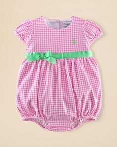 69e371192504 Ralph Lauren Childrenswear Infant Girls  Gingham Shortall - Sizes 3-12  Months