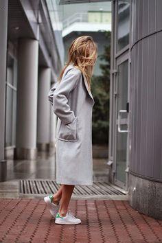 Long grey coat + Adidas trainers | @styleminimalism