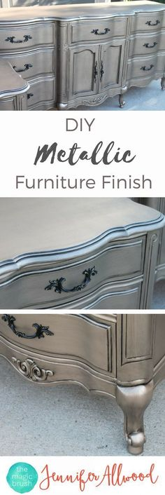 Silver Furniture My most talked about finish DIY Silver Furniture Finish The Magic Brush This metallic painted furniture is so popular and easy to DI Use my furniture painting tips and step by step instructions to give finally paint a dresser makeover Metallic Painted Furniture, Silver Furniture, Refurbished Furniture, Paint Furniture, Repurposed Furniture, Furniture Ideas, Dresser Furniture, Furniture Stores, Diy Dressers
