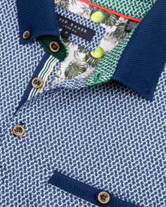 Textured collar printed polo shirt - Blue   Outlet   Ted Baker UK