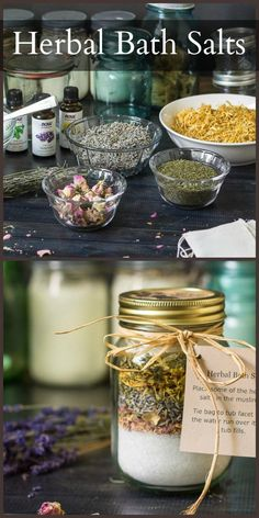 Learn how to easily and cheaply make this beautiful handmade gift of herbal bath salts to give to everyone on your list.