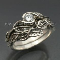 WEDDING+RING+SET+Delicate+Leaf+Engagement+ring+with+by+BandScapes,+$345.00