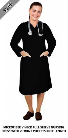 Microfiber v neck full sleeve nursing dress with 2 front pockets knee length Discount Scrubs, Lab Coats, Scrub Jackets, Dark Khaki, Nursing Dress, Comfortable Fashion, Cold Shoulder Dress, High Neck Dress