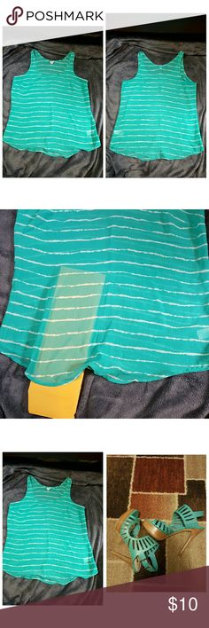 """Old Navy Sheer Tank EUC Old Navy, aqua with white stripes, sheer tank (2nd picture shows sheerness). Perfect for this hot summer weather. Worn maybe 2-3 times. No snags or flaws.  Perfect shirt to go with the Guess aqua sandals, which are also available in my closet! Will provide a 20% discount if you bundle of the 2 items shown in the 3rd picture (plus you'll save on shipping)!  Measurements:  Armpit to armpit: 20"""" Length: 27"""" Color: aqua, white Old Navy Tops Tank Tops"""