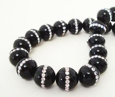 Onyx Beads Onyx with Rhinestone Embedded Beads Black by BijiBijoux