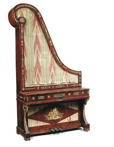 AN AUSTRIAN ORMOLU-MOUNTED ROSEWOOD UPRIGHT PIANO BY GUGLIELMO LESCHEN, VIENNA, MID-19TH CENTURY.
