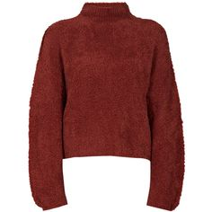By Malene Birger Simota Sweater (220 CAD) ❤ liked on Polyvore featuring tops, sweaters, high neck top, long sleeve tops, long sleeve sweaters, red long sleeve top and crop top