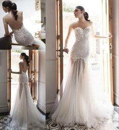 Vintage 2015 Lace Wedding Dresses Mermaid Sweetheart Tulle See Through Sexy Bridal Gowns Sweep Train High Quality Backless Wedding Gown Online with $124.61/Piece on Hjklp88's Store
