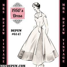 Vintage Sewing Pattern 1950's Contrast Hem Dress in by Mrsdepew