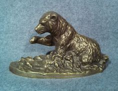 Brass Brown Grizzly Black Bear Sculpture Gallery Quality In River Salmon Fishing
