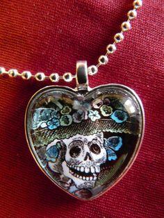 Día de los Muertos Day of Dead Heart Shaped Glass by Pink Pug Studio
